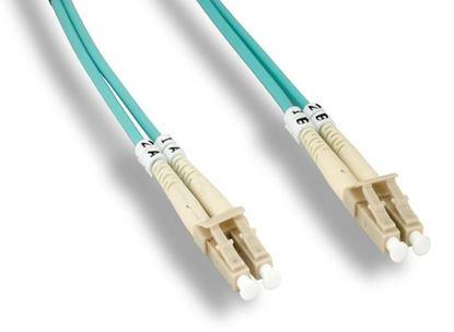 Picture of 2m LC/LC Duplex 50/125 Multimode Fiber Patch Cable 10GB OM4 – Aqua Jacket